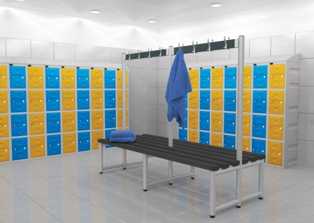 Cloakroom benches with hanging rails