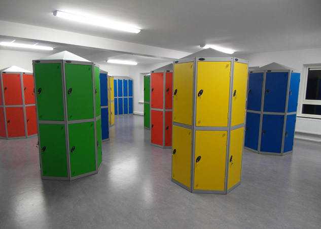 Colour coded locker pods static or 360 rotation
